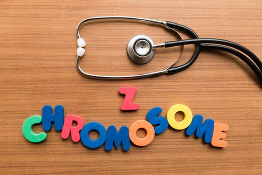 z chromosome colorful word with stethoscope