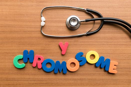y chromosome colorful word with stethoscope