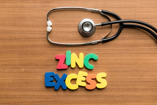 zinc excess colorful word with stethoscope