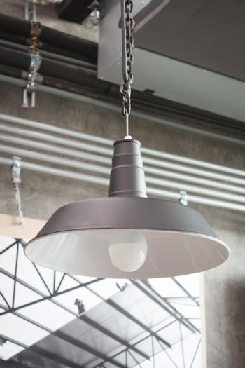 Incandescent lamps in a modern cafe, stock photo