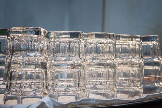 Empty glasses in coffee shop, stock photo