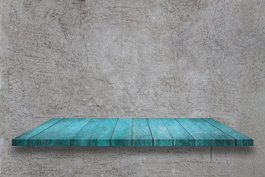 Top blue wooden table on abstrsct gray concrete texture background