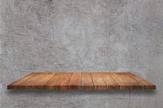 Top wooden table on abstrsct gray concrete texture background