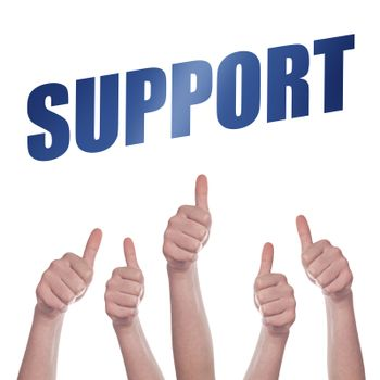 Thumbs up for Support concept