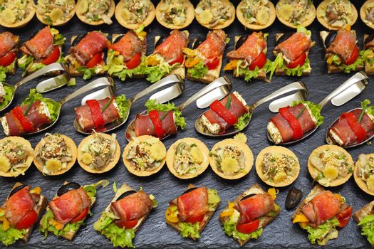 Decorative Garnished Modern Canapes Served at Party