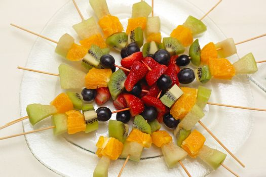 Fresh Fruits On Skewers Sticks For Party
