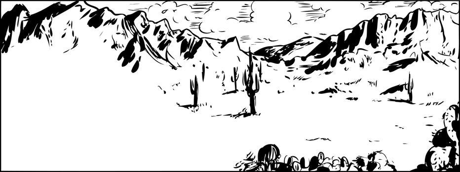Outline Sketch of Arizona Desert with Cactus