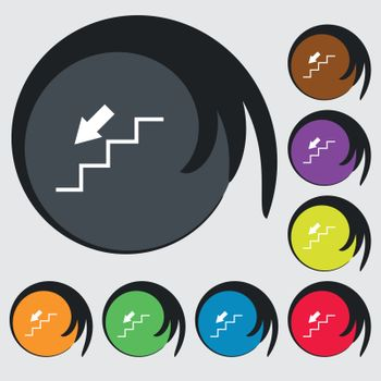 descent down icon sign. Symbols on eight colored buttons. Vector