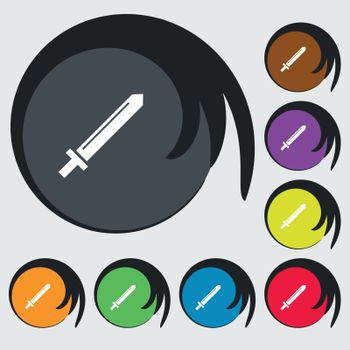 Sword icon sign. Symbols on eight colored buttons. Vector