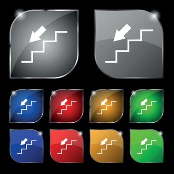 descent down icon sign. Set of ten colorful buttons with glare. Vector sign. Set of ten colorful buttons with glare. Vector