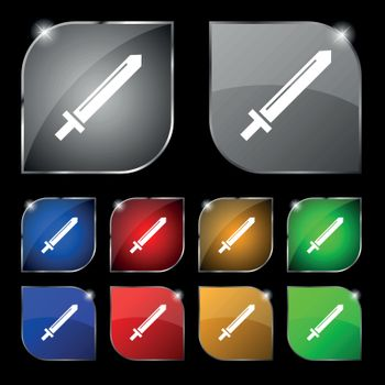 Sword icon sign. Set of ten colorful buttons with glare. Vector sign. Set of ten colorful buttons with glare. Vector