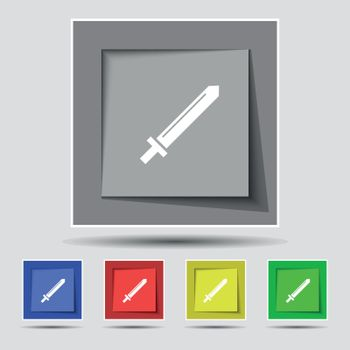 Sword icon sign on original five colored buttons. Vector