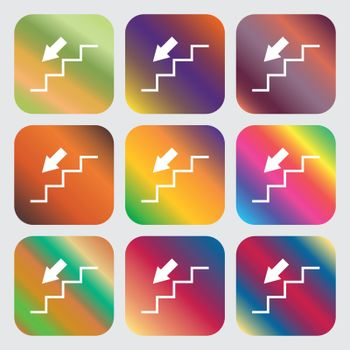 descent down icon . Nine buttons with bright gradients for beautiful design. Vector
