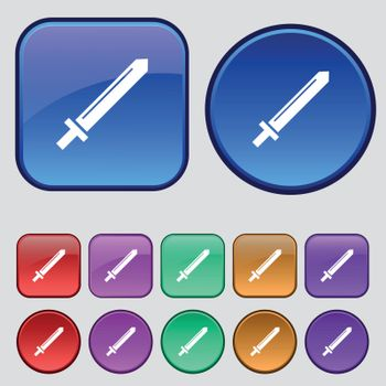 Sword icon sign. A set of twelve vintage buttons for your design. Vector
