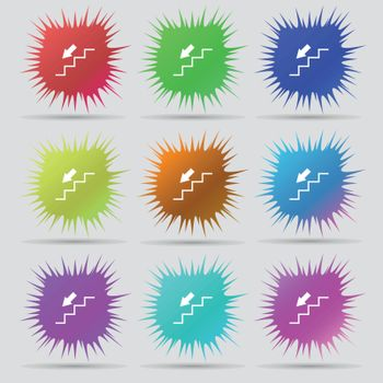 descent down icon sign. A set of nine original needle buttons. Vector