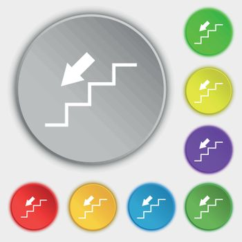 descent down icon sign. Symbol on eight flat buttons. Vector