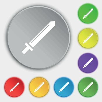 Sword icon sign. Symbol on eight flat buttons. Vector