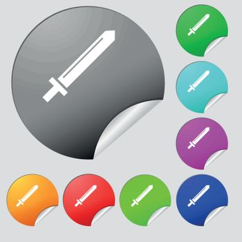 Sword icon sign. Set of eight multi colored round buttons, stickers. Vector