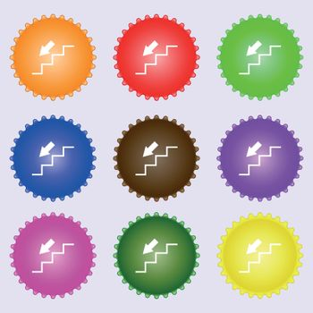 descent down icon sign. Big set of colorful, diverse, high-quality buttons. Vector