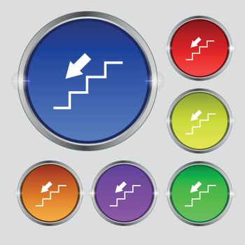 descent down icon sign. Round symbol on bright colourful buttons. Vector
