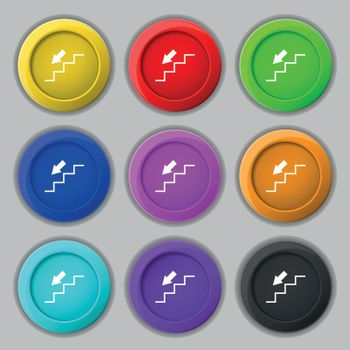 descent down icon sign. symbol on nine round colourful buttons. Vector