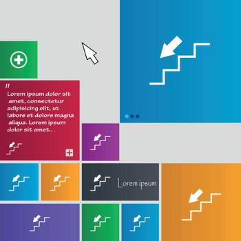 descent down icon sign. buttons. Modern interface website buttons with cursor pointer. Vector