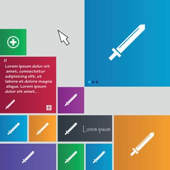 Sword icon sign. buttons. Modern interface website buttons with cursor pointer. Vector