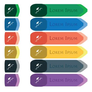 descent down icon sign. Set of colorful, bright long buttons with additional small modules. Flat design