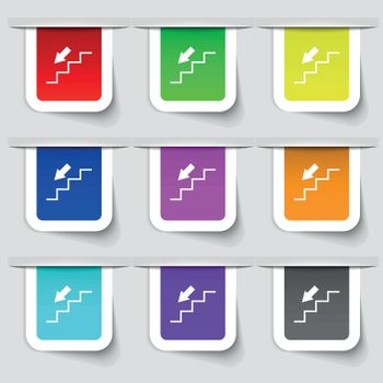 descent down icon sign. Set of multicolored modern labels for your design. Vector