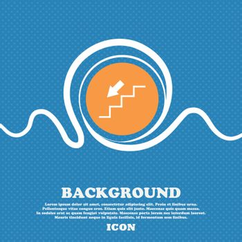 descent down icon sign. Blue and white abstract background flecked with space for text and your design. Vector