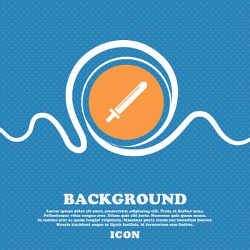 Sword icon sign. Blue and white abstract background flecked with space for text and your design. Vector