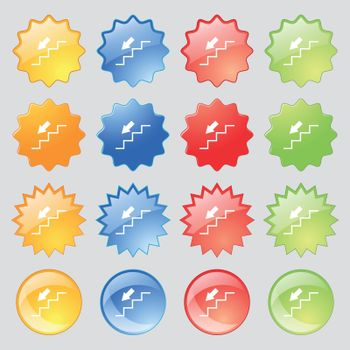 descent down icon sign. Big set of 16 colorful modern buttons for your design. Vector