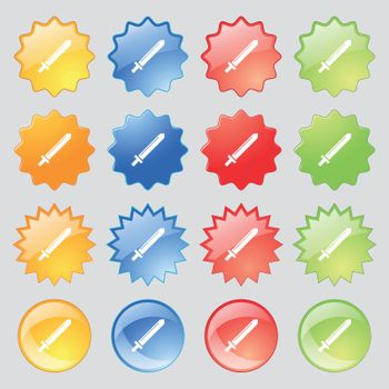 Sword icon sign. Big set of 16 colorful modern buttons for your design. Vector