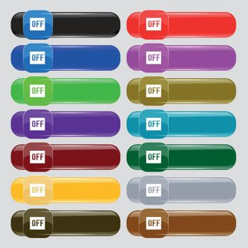 OFF icon sign. Set from fourteen multi-colored glass buttons with place for text. Vector
