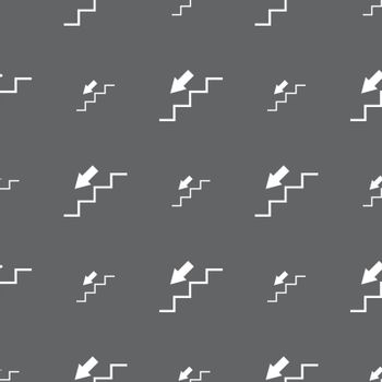 descent down icon sign. Seamless pattern on a gray background. Vector