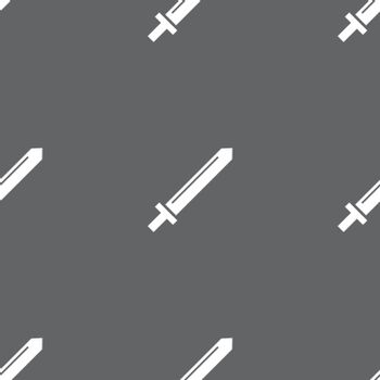Sword icon sign. Seamless pattern on a gray background. Vector