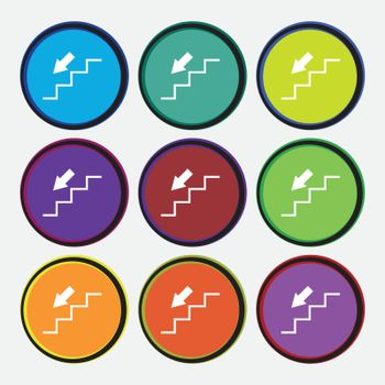descent down icon sign. Nine multi colored round buttons. Vector