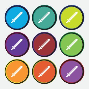 Sword icon sign. Nine multi colored round buttons. Vector