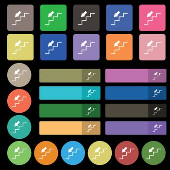 descent down icon sign. Set from twenty seven multicolored flat buttons. Vector