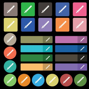 Sword icon sign. Set from twenty seven multicolored flat buttons. Vector