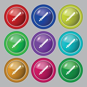 Sword icon sign. symbol on nine round colourful buttons. Vector