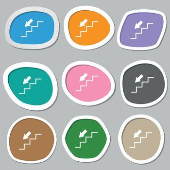 descent down icon symbols. Multicolored paper stickers. Vector
