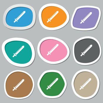 Sword icon symbols. Multicolored paper stickers. Vector