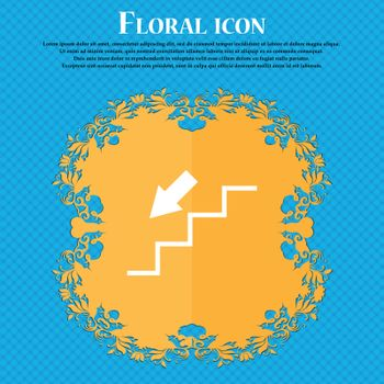 descent down icon icon. Floral flat design on a blue abstract background with place for your text. Vector