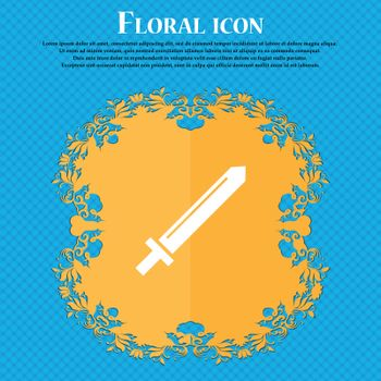 Sword icon icon. Floral flat design on a blue abstract background with place for your text. Vector