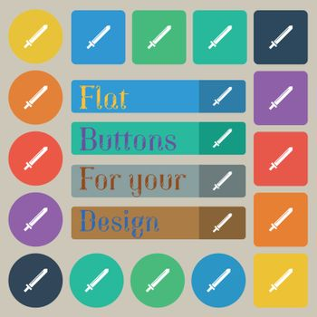 Sword icon sign. Set of twenty colored flat, round, square and rectangular buttons. Vector