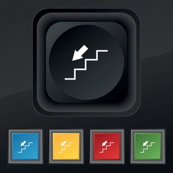descent down icon symbol. Set of five colorful, stylish buttons on black texture for your design. Vector
