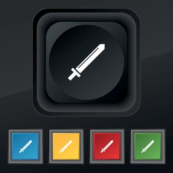 Sword icon symbol. Set of five colorful, stylish buttons on black texture for your design. Vector