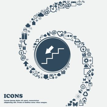 descent down icon in the center. Around the many beautiful symbols twisted in a spiral. You can use each separately for your design. Vector