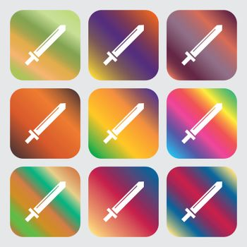 Sword icon . Nine buttons with bright gradients for beautiful design. Vector